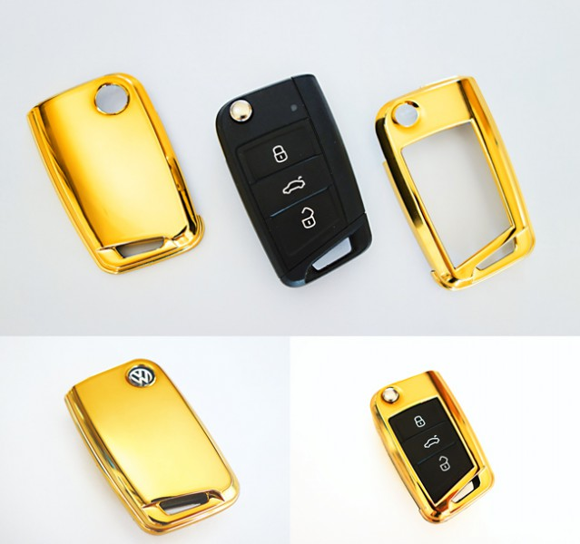 f r vw golf 7 vii gold schl ssel cover key cover schl ssel. Black Bedroom Furniture Sets. Home Design Ideas