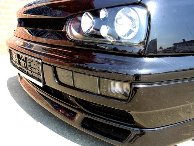 VW-Golf-3-Vento-Front-Blinker-Schwarz-Rauch-Kurze-Blenden-Nebelscheinwerfer-NSW