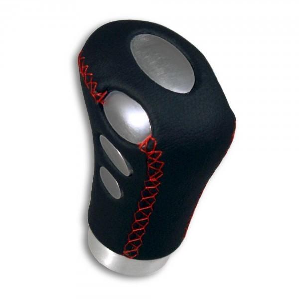 universal palanca de cambio de cuero alu negro rojo knauf gear shift knob conmutaci n saco blk. Black Bedroom Furniture Sets. Home Design Ideas